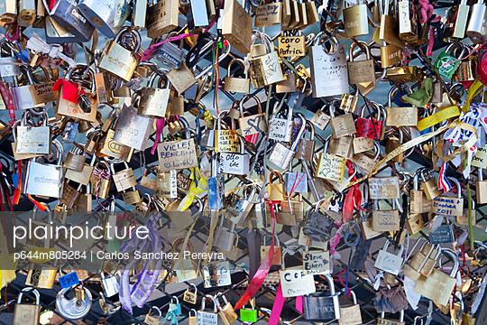 France; Close-up of love padlocks; Paris