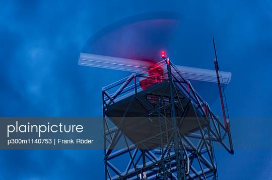 Radar station, weather radar at night