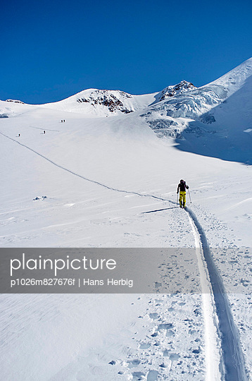 Man back country skiing, European Alps, Tyrol, Austria