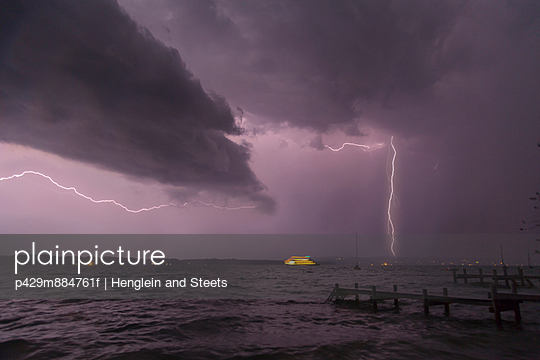View of storm and lightning on Lake Starnberg