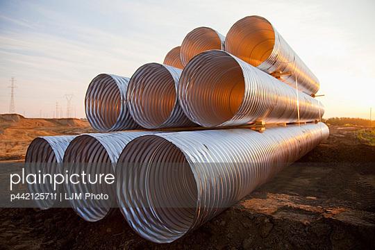 stack of culvert pipes; edmonton, alberta, canada