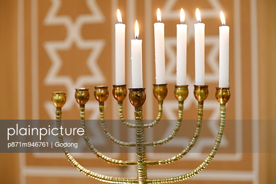 Hanukkah candles; Paris; France; Europe