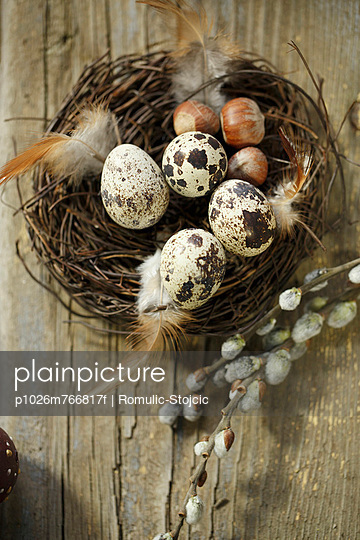 Quail Eggs In Easter Basket, Osijek, Croatia, Europe