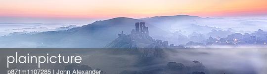 Corfe Castle in the mist, Corfe, Dorset, England, United Kingdom, Europe