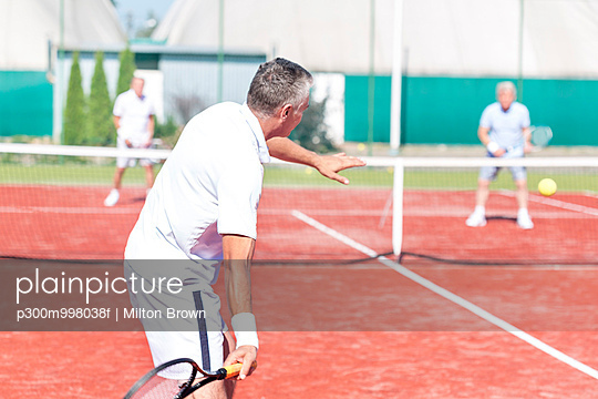 Tennis players on tennis court