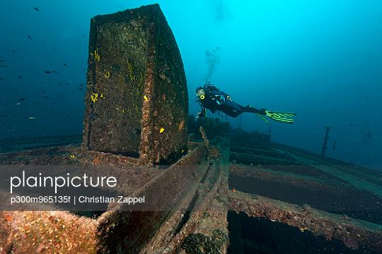 Croatia, Cres, Wreck diving at wreck Lina