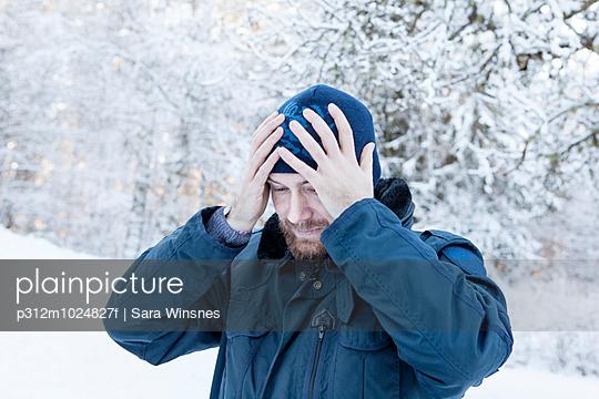 Mature man at winter
