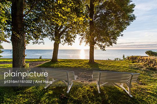 Zwei Parkbänke mit Blick auf das Wattenmeer im Sonnenaufgang, Keitum, Sylt, Schleswig-Holstein, Deutschland - p1316m1161002 von Arnt Haug