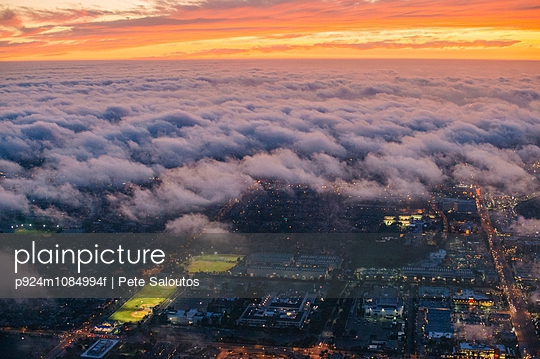 Aerial view of clouds over Los Angeles, California, USA