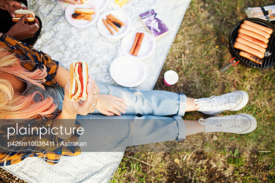 Directly above shot of woman holding sausage burger during picnic at park