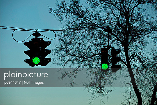 Two Green Traffic Lights Against Tree Silhouette