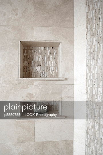 Tiled Shower with Soap Shelf