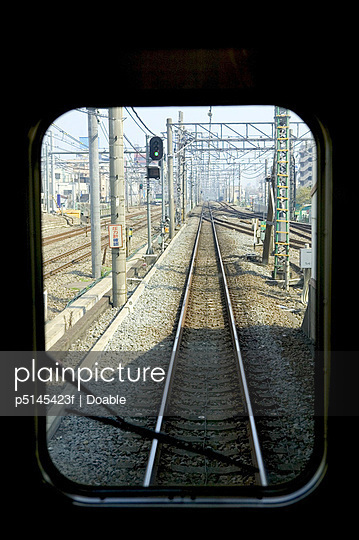 Railroad track, view from train