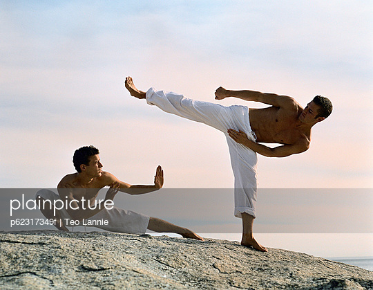 Two men performing martial arts
