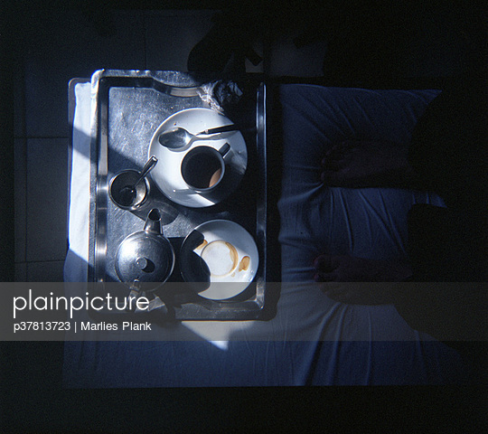 Coffee tray on bed