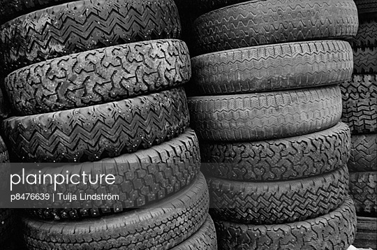 Stacks of car tyres