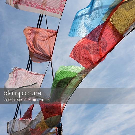 Colourful prayer flags; Thimphu, Bhutan