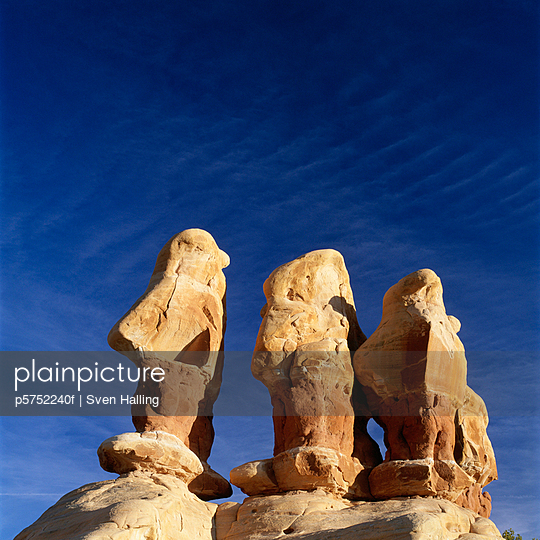 Sculptures against clear sky low angle view
