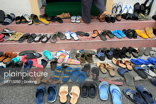 Shoes outside mosque during Friday prayers, Masjid Kampung Mosque, Kuala Lumpur, Malaysia, Southeast Asia