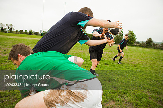 Rugby game in action