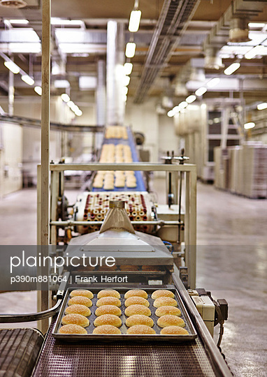 Production of bread rolls for Hamburger