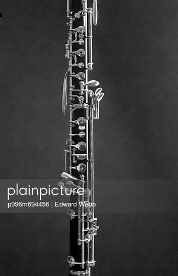 Oboe Detail On Black Background