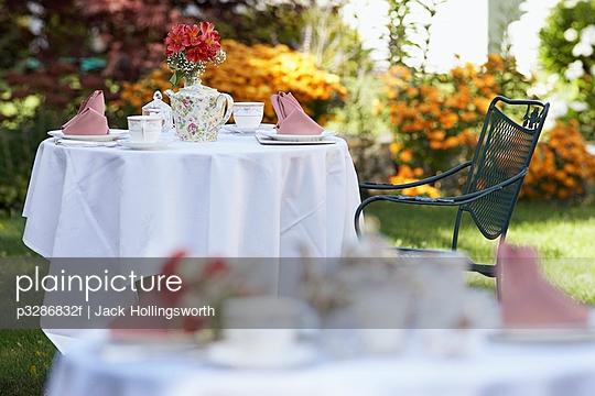 Tables in a garden set for tea