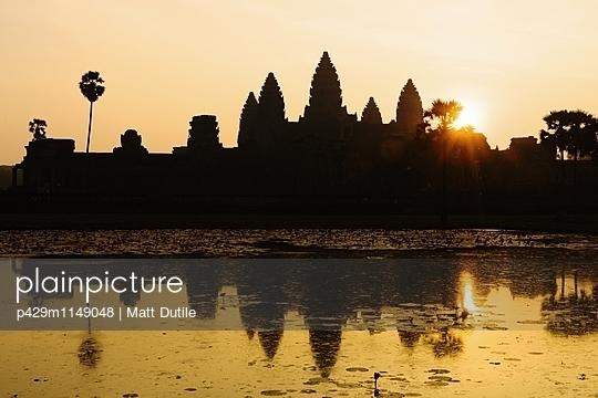 Lake and sunrise, Angkor Wat temple, Angkor Wat Complex, Siem Reap, Cambodia