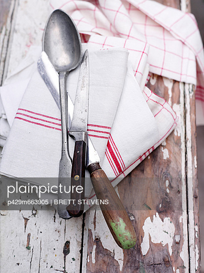 Close up of cutlery on wash cloth