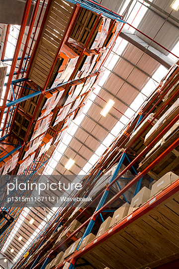 High angle view of warehouse aisle without worker