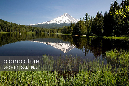 Snow capped mountain reflected in Trillium lake, Mount Hood National Forest, Oregon, United States of America