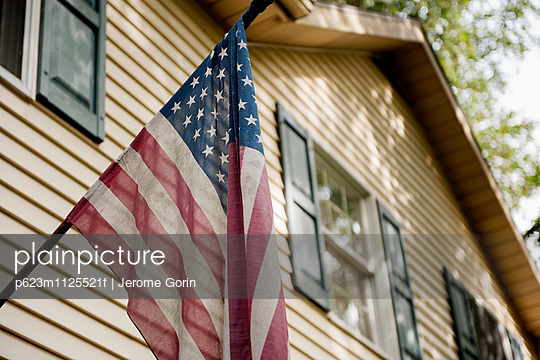American flag on exterior of home
