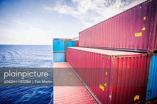 Container ship in the Red Sea south of the Suez Canal