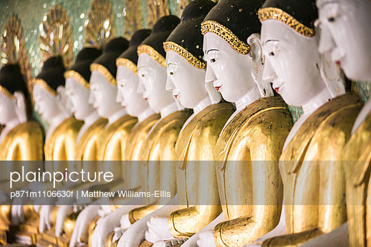 Some of the 45 large Buddha Images at Umin Thounzeh, a Buddhist temple on Sagaing Hill, Mandalay, Myanmar , Asia