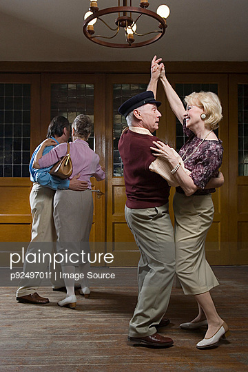 Senior couples dancing