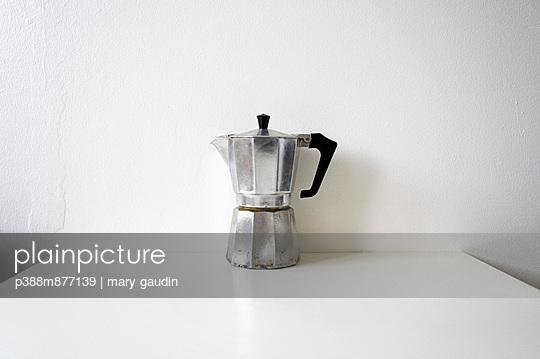Espresso maker on kitchen table