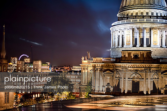 St Paul\'S Looking Over London And The London Eye At Night