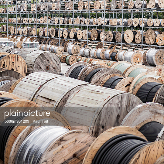 Cable on large wooden spools