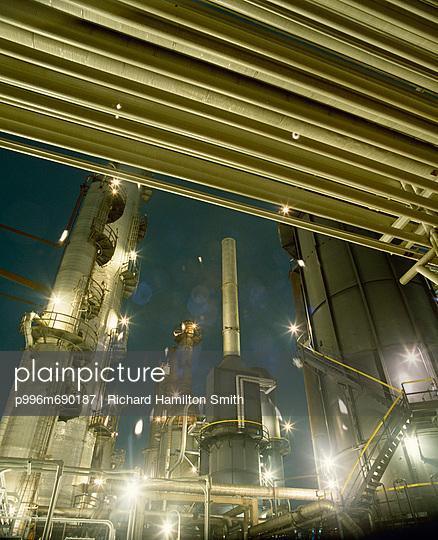 Oil And Gas Refinery At Night Near Houston, Texas, Usa.