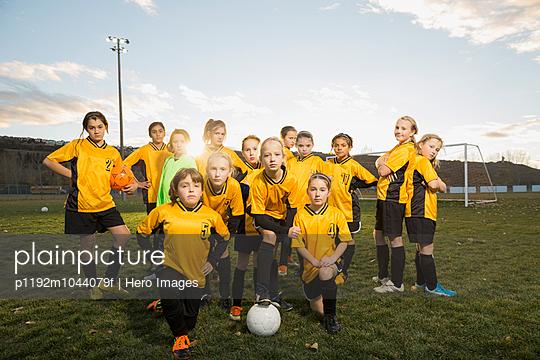 Portrait of girls soccer team