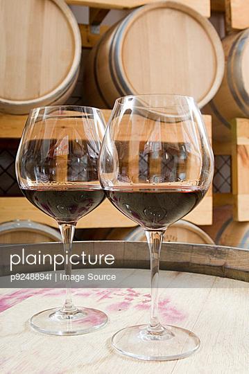 Wine glasses in a wine cellar