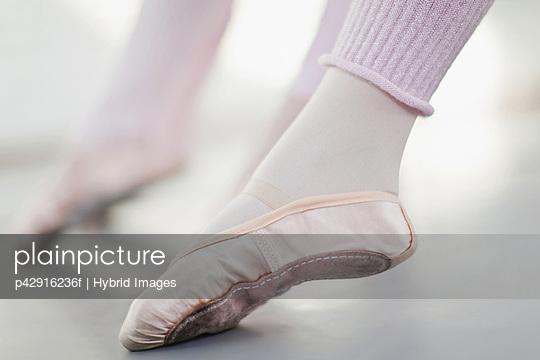 Close up of ballet dancer's foot