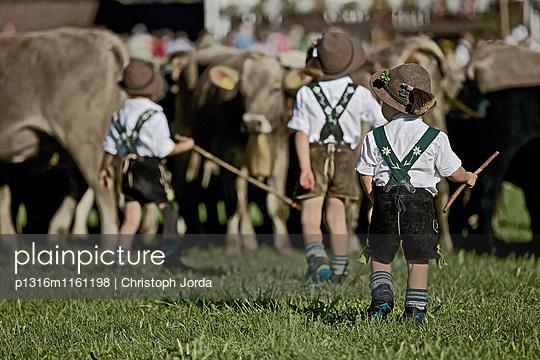 Jungen in Tracht auf einer Wiese beim Viehscheid, Allgäu, Bayern, Deutschland - p1316m1161198 von Christoph Jorda