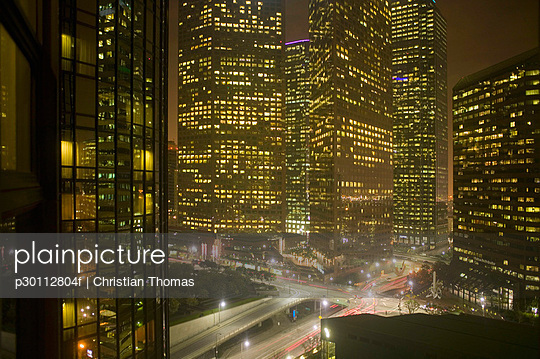 Downtown cityscape and highway at night, Los Angeles, California