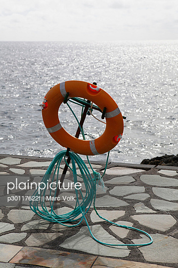 A life preserver on a pier