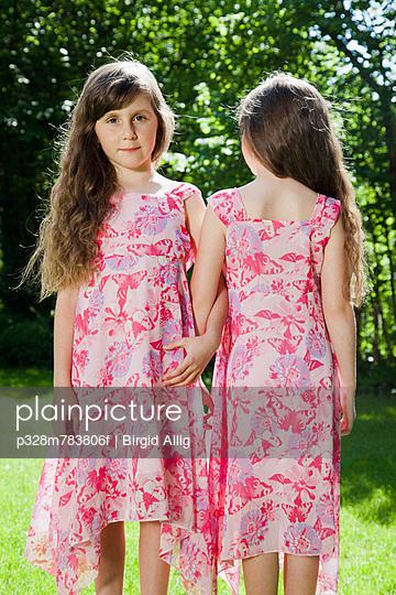 Twins in garden