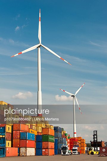 Wind power at the port of Hamburg