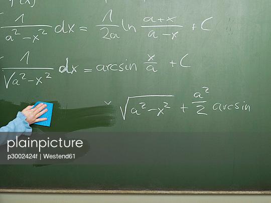 Girl wiping blackboard