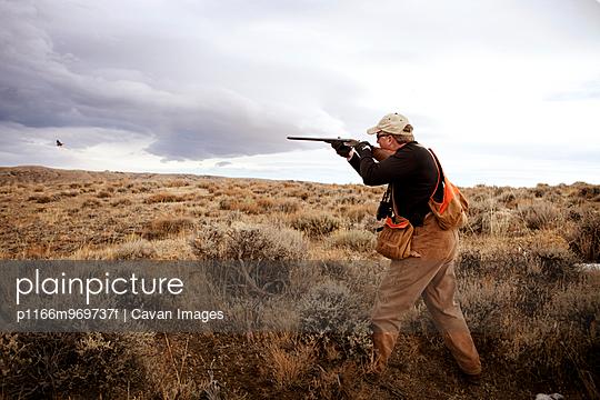 Hunter Shooting Bird In Field