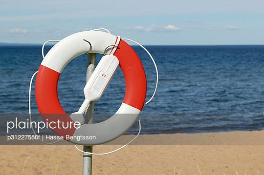 Life belt on beach